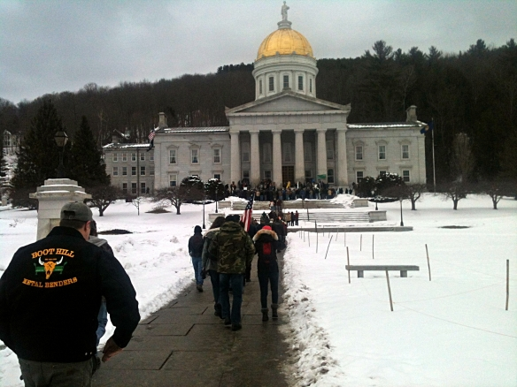 Crowds begin to gather for the 2nd Amendment rally - February 23, 2013 @ 11:40